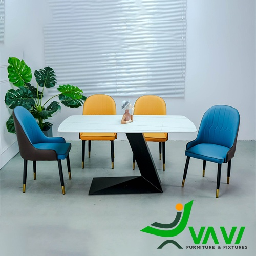 Bộ bàn ghế phòng ăn mặt đá 4 ghế sang trọng