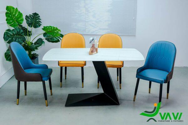 Bộ bàn ghế phòng ăn mặt đá 4 ghế sang trọng nhập khẩu