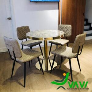 Bộ bàn tròn 4 ghế bọc da chân thép cao cấp
