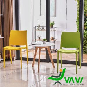 Bộ bàn tròn chân gỗ 2 ghế nhựa đúc