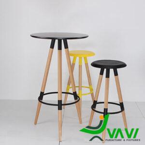bàn bar cafe mặt tròn 3 chân gỗ nhập khẩu Hà Nội