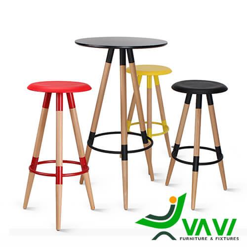 Mẫu bàn bar cafe mặt tròn 3 chân gỗ nhập khẩu