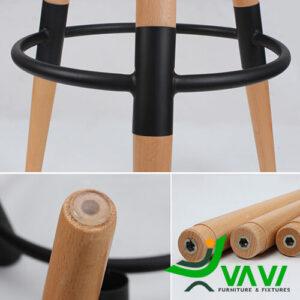 Cấu tạo bàn bar cafe mặt tròn 3 chân gỗ nhập khẩu