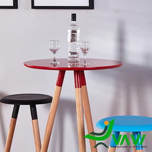 Bàn bar cafe mặt tròn 3 chân gỗ nhập khẩu