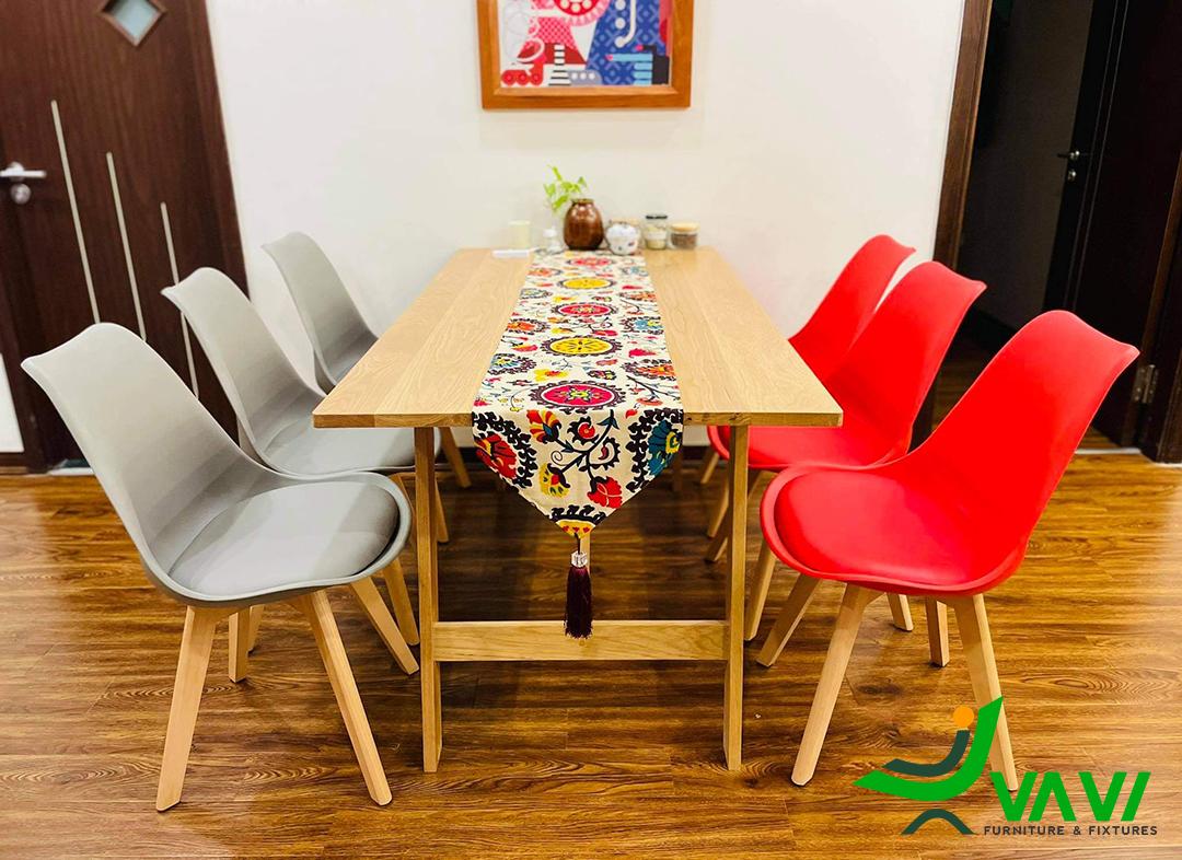 ghế ăn nhựa chân gỗ hiện đại