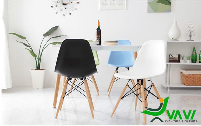 Ghế ăn Eames nhựa chân gỗ giá rẻ